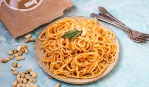 ספגטי ברוטב שמנת קשיו ובטטה טבעוני